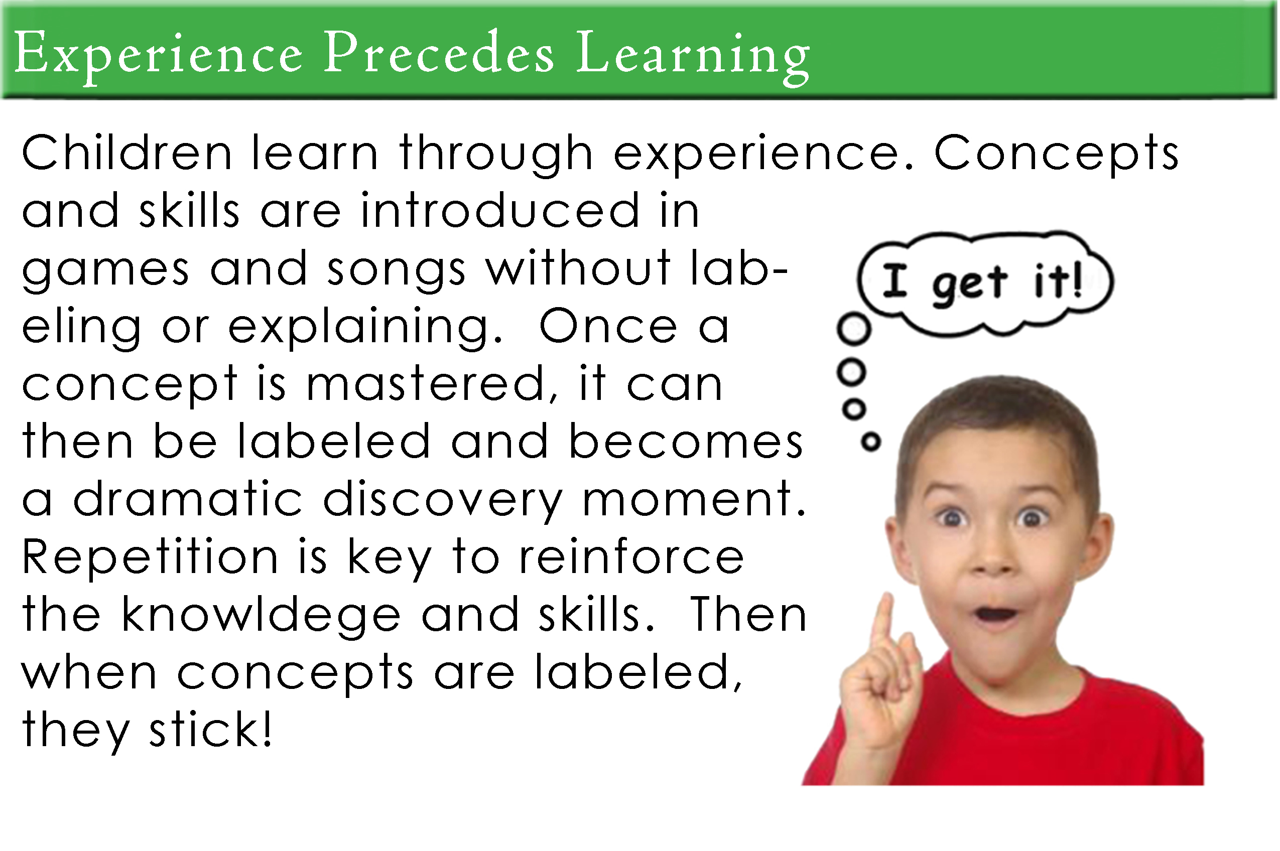 Experience Precedes Learning